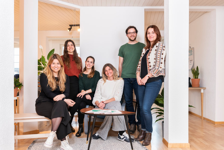 Sie sind Teil von Too Good To Go Schweiz (v.l.): Alina Swirski, Success Manager, Nina Damaso, Business Developer, Vanessa Müller, Business Developer, Delila Kurtovic, Marketing Manager, Lukas von Hühnerbein, People & Culture Coordinator, Lucie Reine, Country Manager.